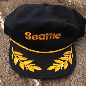 Vintage Black & Gold Seattle Hat Unisex 80's/90's